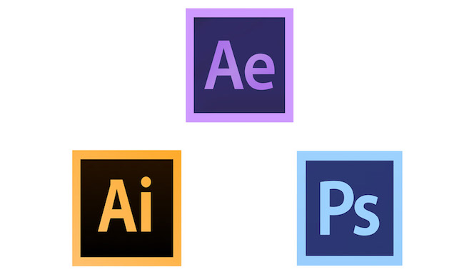 Adobe Illustrator, Adobe Photoshop and Adobe After Effects